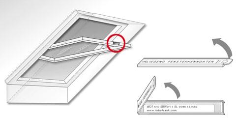 emplacement plaque toit ROTO identification