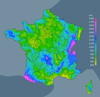 pluviometrie moyenne france