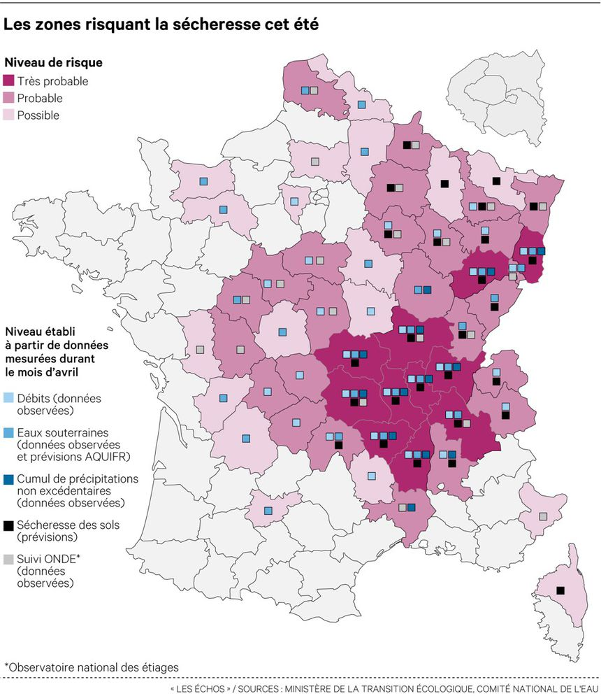 carte risque secheresse France 2020