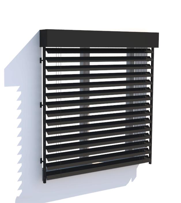 Brise Soleil Orientable lame Z de 90mm - filaire ou radio en façade avec caisson fermé