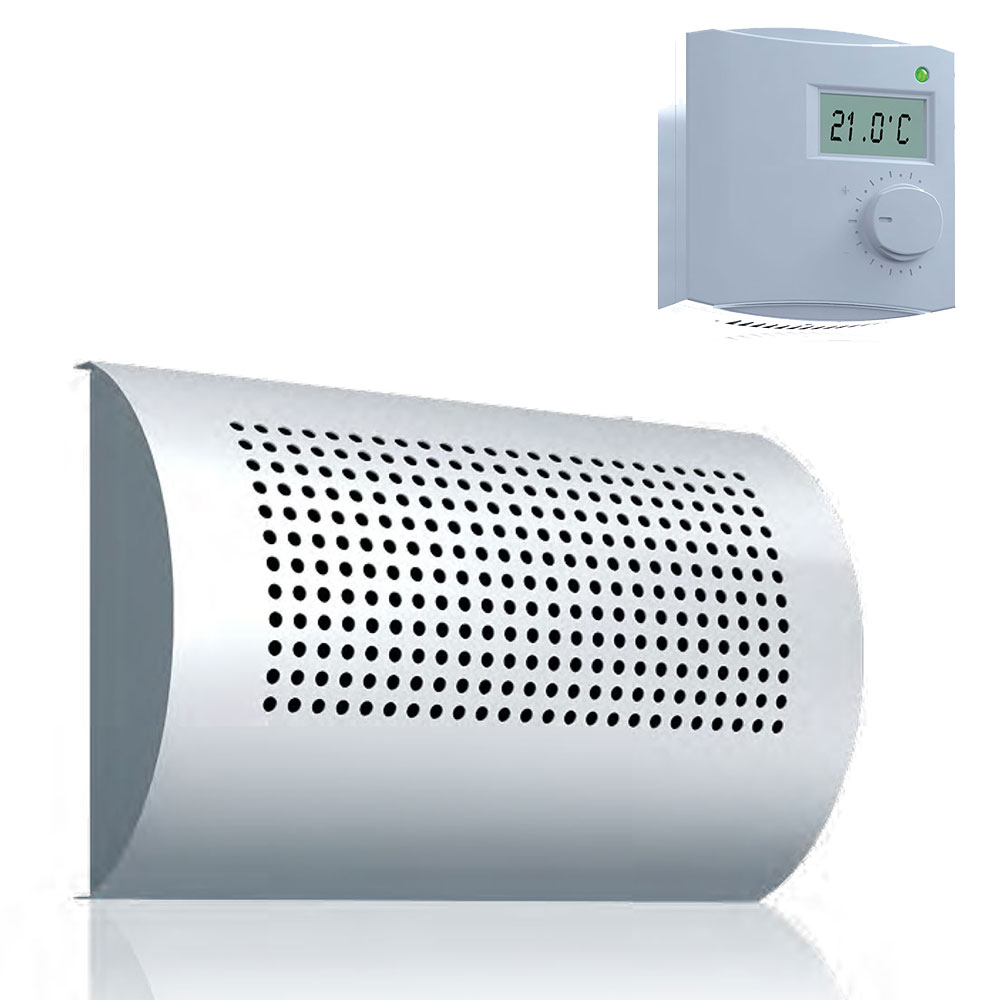 Bouche chauffante incurvée horizontalement + thermostat d'ambiance