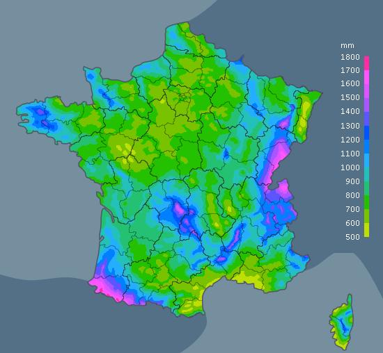 carte pluviometrie moyenne France