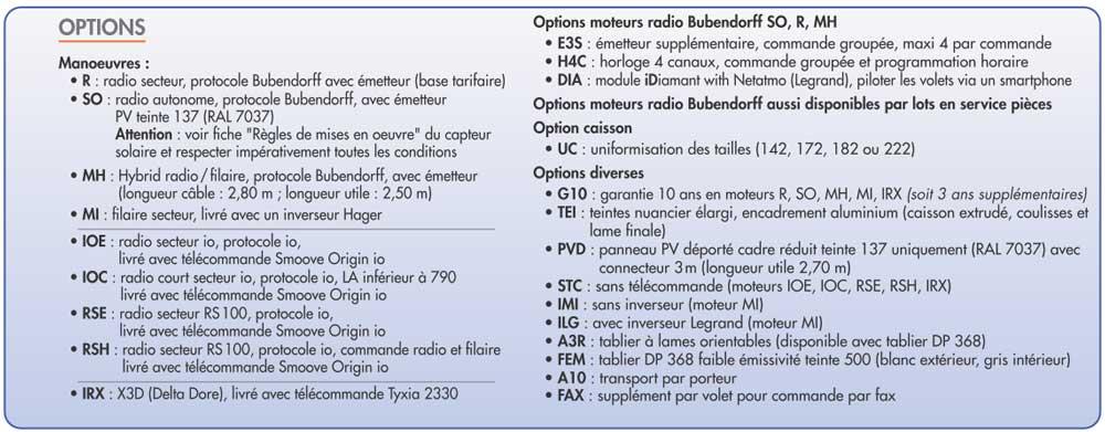 infos sur les options des volets bubendorff